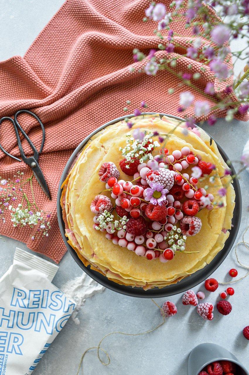 Reishunger, Crepè Torte mit HImbeeren