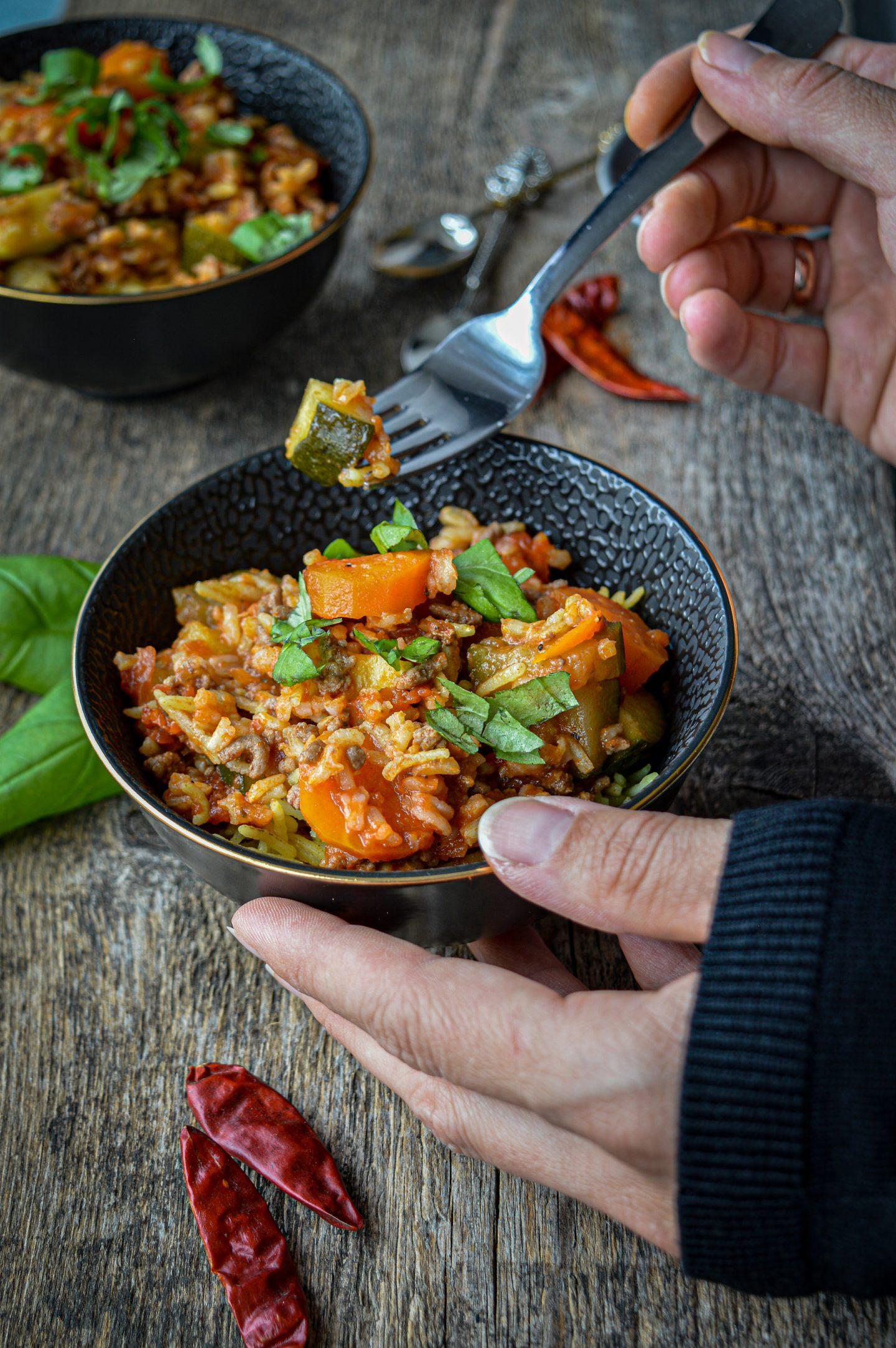 Schnelle Gemüse Reispfanne